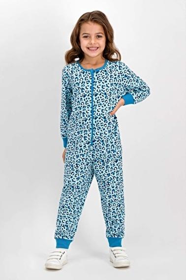 Roly Poly Animal Leopar Kız Çocuk Tulum Mavi